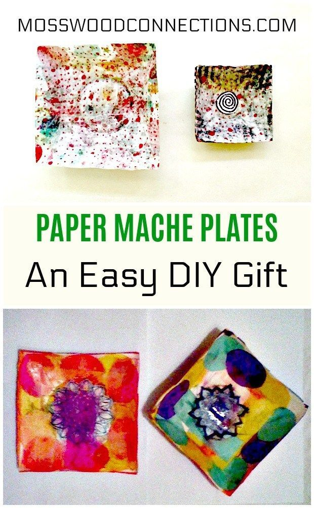 Paper Mache Plates An Easy DIY Gift. #DIY #homemadegifts #papermache #craftsforkids #mosswoodconnections