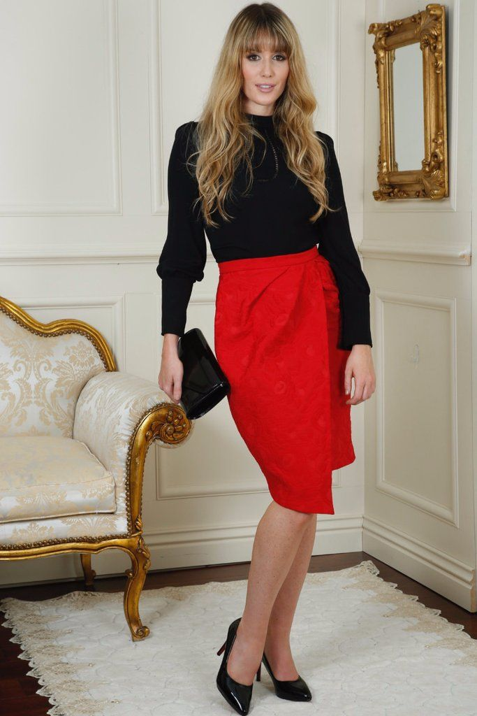 Cassie Red Pleat Detail Jacquard Skirt