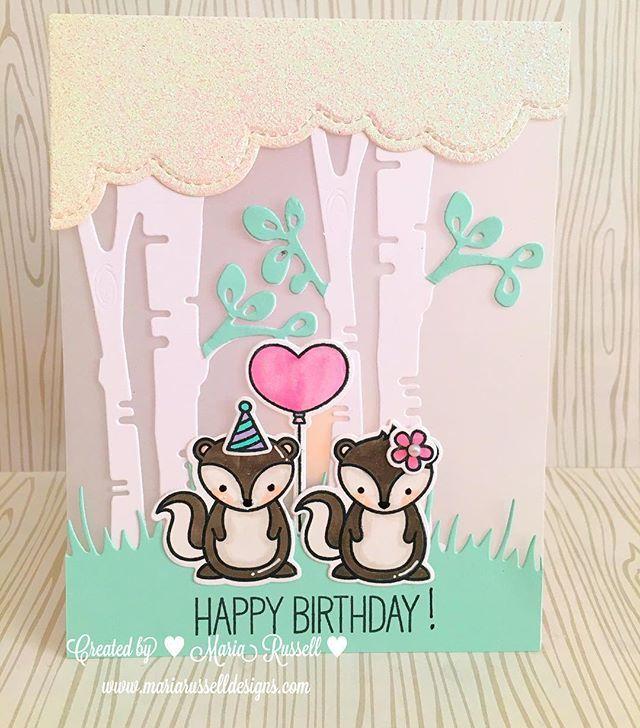 Lawn Fawn Stinkin' Cute; skunk; vellum card; vellum panel; puffy cloud dies; birch tree die; heart balloon; pastel; birthday; pair