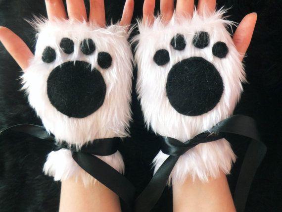 Cute White Furry Panda Polar Bear Arctic Cat by KittenTreasures, £22.99