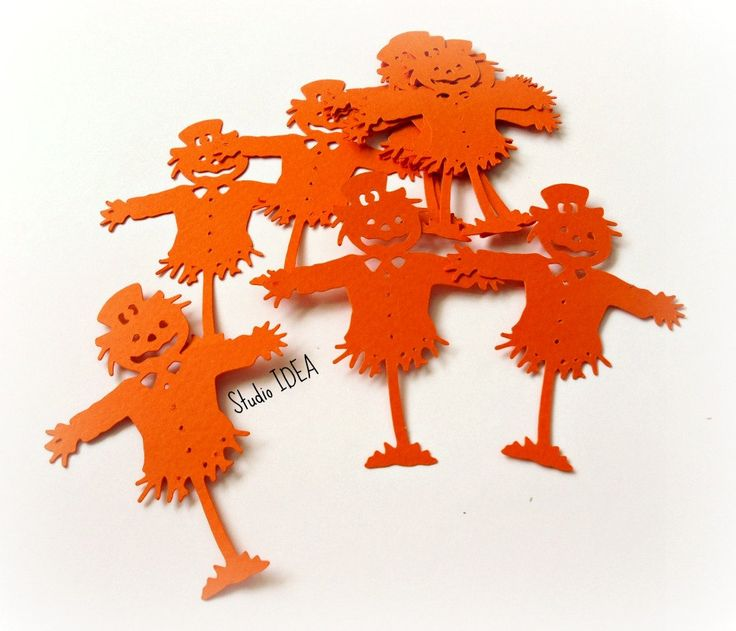 """3"""" Orange Pumpkin Scarecrow - or Choose Your Colors - Halloween Cut outs, Cute…"""