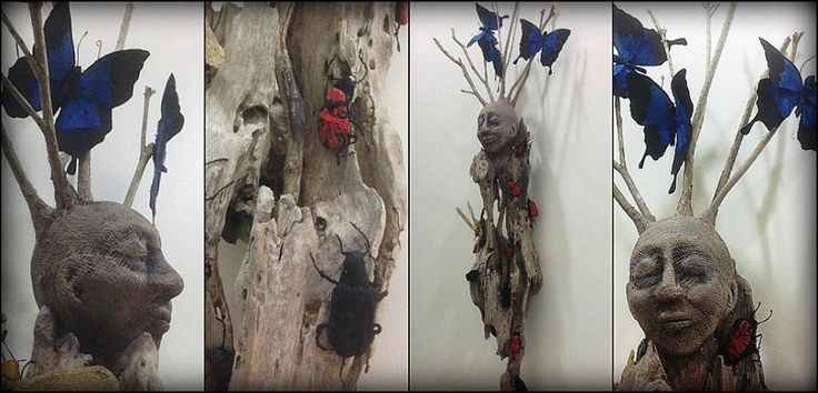 Entomological Elements - Natural Elements depicted by fabric insects. Mixed media sculpture with found drfitwood, polymer clay, paper clay, fabric, wire and stitching . Wilma Simmons (Newcastle,  Australia) https://www.facebook.com/Empress.Wu.Designs