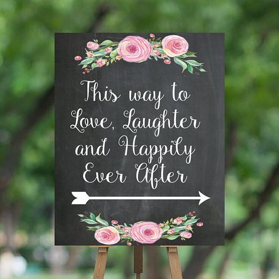 Chalkboard Wedding Sign Instant Download - This way to love, laughter and happily ever after -  by SouthernPaperAndInk $5