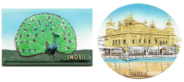 Peacock and Golden Temple in Amritsar - Set of Two Magnets (Poly Resin)