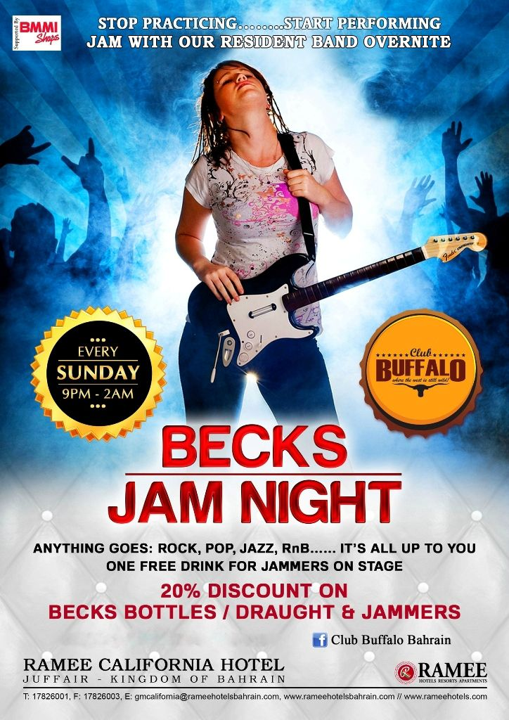 Rock,Pop,Jazz...All the Jammers are welcomed on the stage to perform live with our resident band #Overnite at the #ClubBuffalo. #RameeCalifornia #Hotel #Bahrain #BecksJamNight #LivePerformance