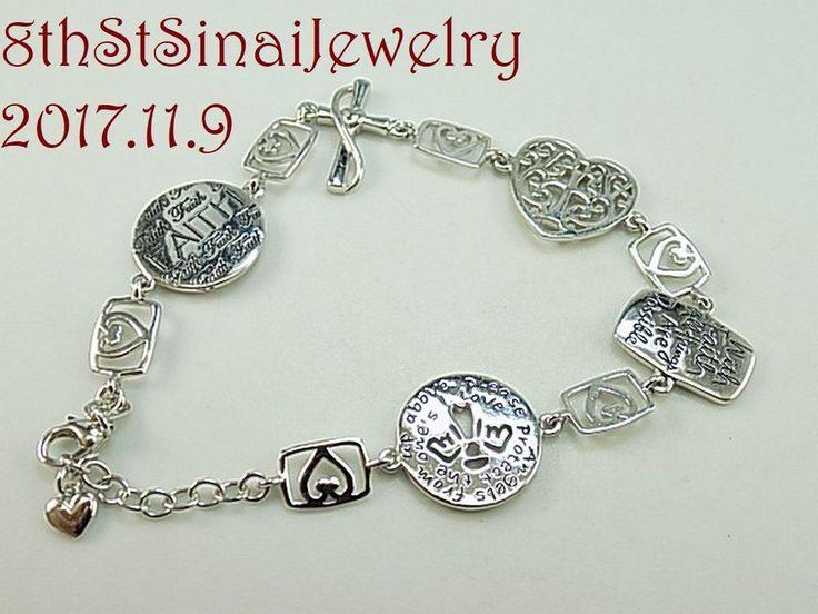 "Estate Sterling Silver 925 Inspirational Faith Symbols Link Bracelet 7""L x 5/8""W #LA #Statement"