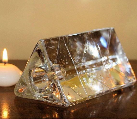 Vintage Iittala Arkipelago Triangle Shaped Ice Glass Candle Etsy Glass Candle Holders Glass Candle Pedestal Candle Holder