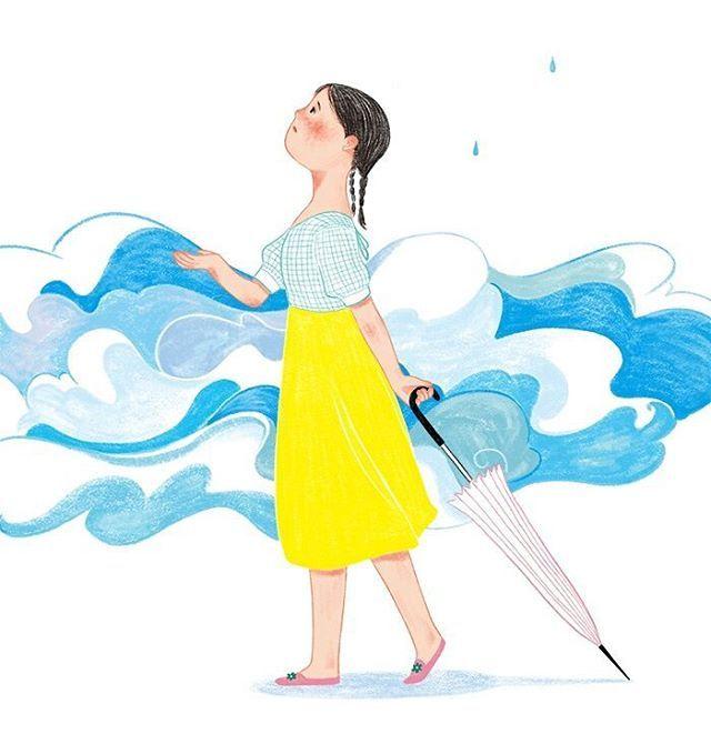 비가 올 듯 말 듯 #illustagram #illust #illustration #drawing #draw #artwork #photoshop #digitalart #rain #umbrella #girl #someday #일상 #일러스트레이션 #일러스트 #그림 #소녀 #비 #우산 #그런날
