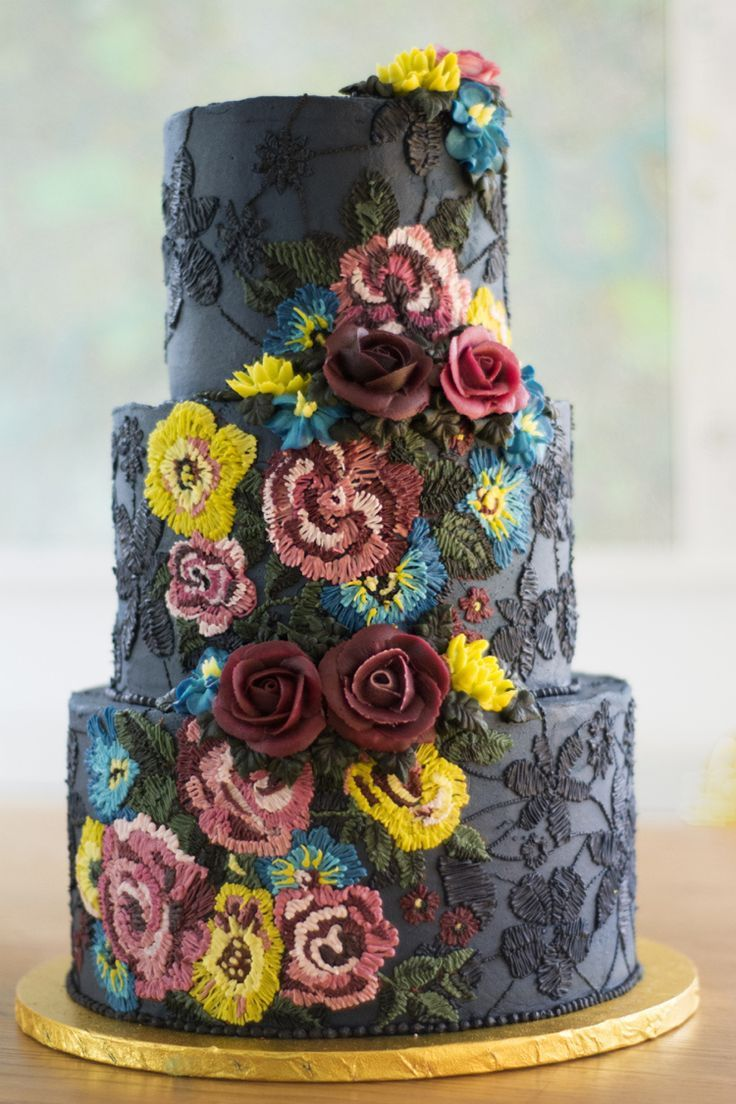 Black and navy needlework pattern wedding cake Whimsical & Pretty Buttercream Wedding Cakes by Emma Page Cakes via @whimwondwed