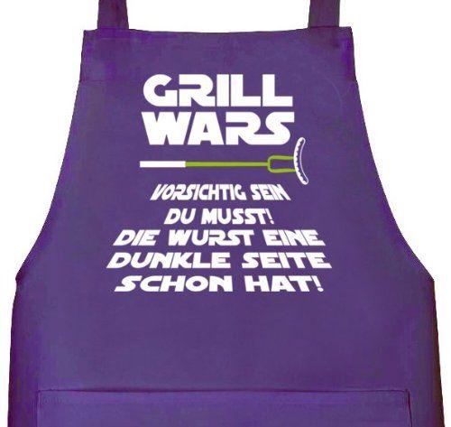 Lustige Grillen Barbecue Schürze von Shirtstreet24 mit Dunkle Seite Grill Wars Aufdruck, Größe: onesize,Lila
