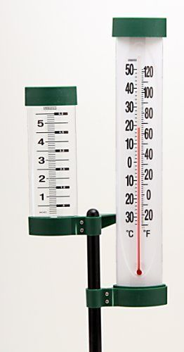 Springfield 91040 48-Inch Thermometer and Rain Gauge by Springfield. $11.52. 48-Inch long outdoor thermometer and rain gauge. Easy To see. Measures outdoor temperature and rain fall.. Unique outdoor weather monitor. Tall 48-Inch profile helps to see the temperature and rain fall from most parts of your yard. Distinctive easy to read graphics .No wires ,batteries ,or plug-ins. Just put it out in the yard and enjoy. Save 11% Off!