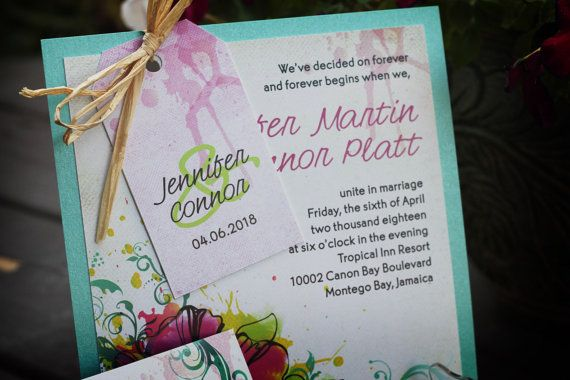 Tropical destination wedding invitation package