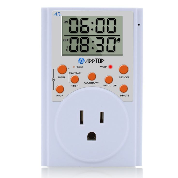 Timer Switch Outlet, ADDTOP Programmable Multifunctional Plug-in Digital Timer Socket With 3-prong Outlet Infinite Cycle and Countdown for Appliances, Lights, Plants 15A/1800W