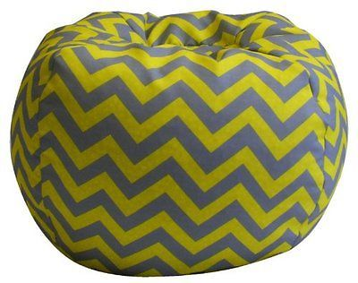 Kids Chevron Bean Bag Gray and Yellow Bean Bag Chair Seat New
