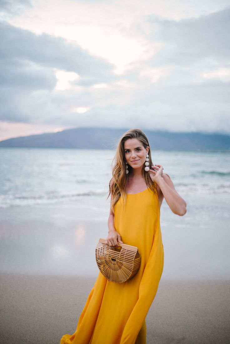 Gal Meets Glam Golden Sunset - Rhode Resort dress, Rebecca de Ravenel earrings & Cult Gaia bag