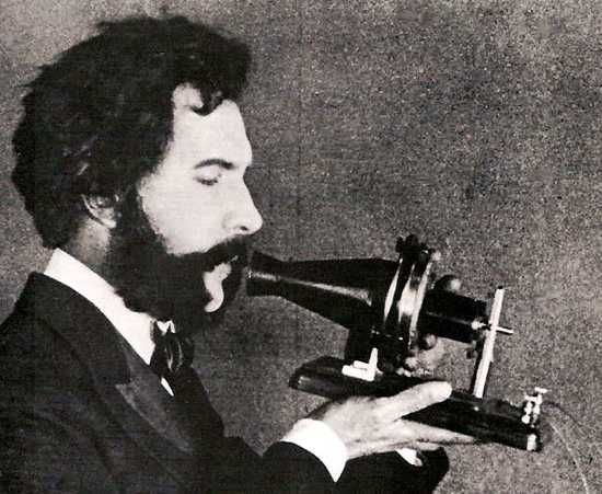 Great British Inventions - The Telephone. The telephone was invented by British inventor Alexander Graham Bell and patented in 1876. Picture - Alexander Graham Bell speaking into an early telephone.