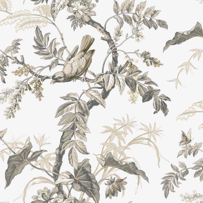 Black White AT4142 Bird Toile Wallpaper