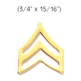 "SERGEANT Police Fire EMS Army Collar Brass Pins Insignia Badge Emblem GOLD Finish, LARGE 3/4"" x 15/16"" (PAIR !) by HWC. $8.62. *Gold Finish ***SOLD AS A PAIR !, 2 INCLUDED !!! *SERGEANT Collar Pins, Large *Clutch Backs included"