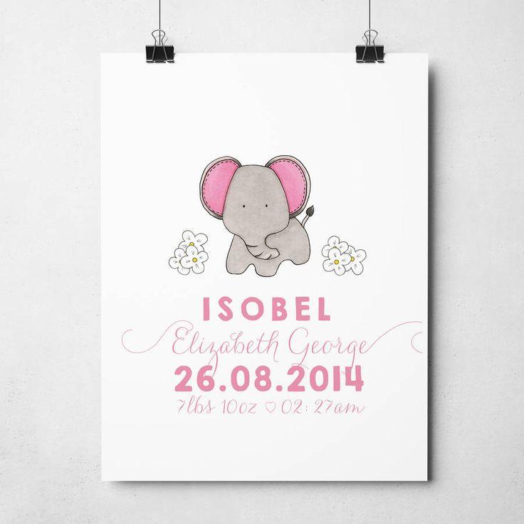 Personalised Elephant Nursery Wall Print