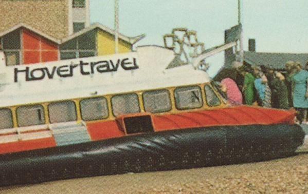 Original Hovertravel logo on postcard for Southsea - Isle Of Wight hovercraft via @isetta_windsor