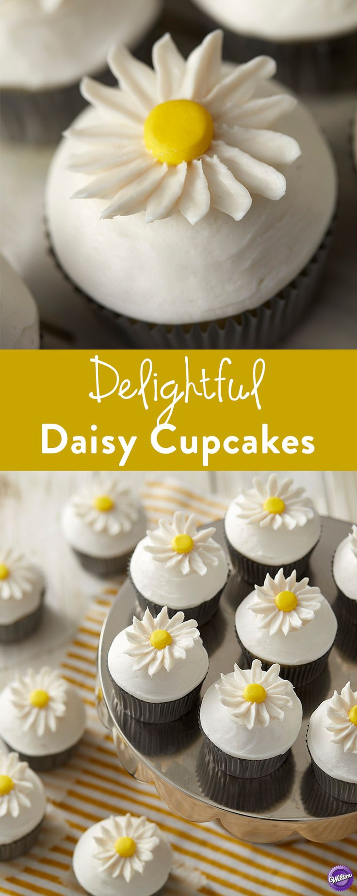 How to Bake Delightful Daisy Cupcakes - Topped with buttercream flowers, these cheerful cupcakes are sure to make any spring or summer celebration just a little bit sweeter!