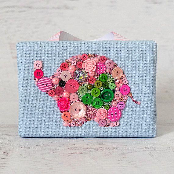 Button Art Pink Elephant Home Decor Nursery Decor Elephant Wall Art Baby Room Decor Pink Wall Hanging Button Artwork Mosaic