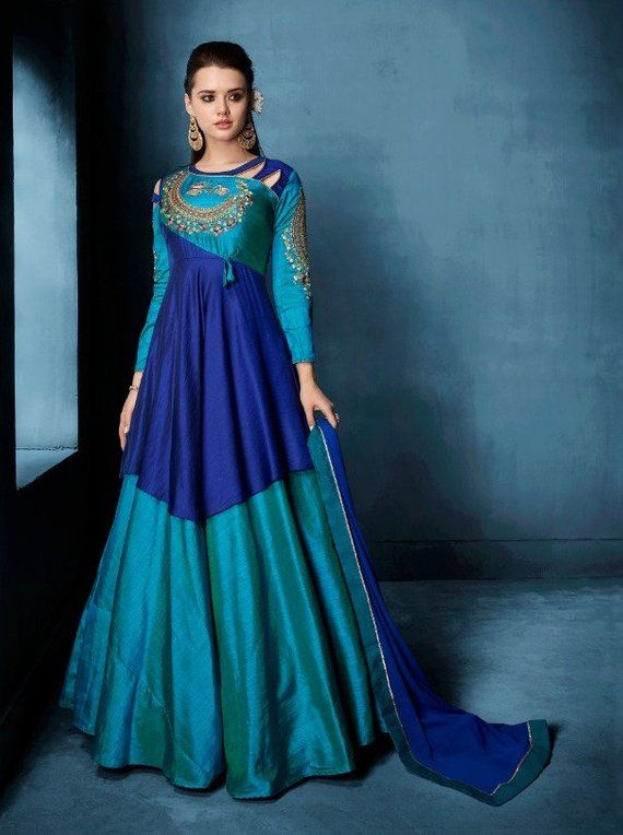91add49dee2e Exclusive Designer Gown - Party Wear Indian Designer Gown - Floor Touch  Dress - Indian Ethnic Weddin