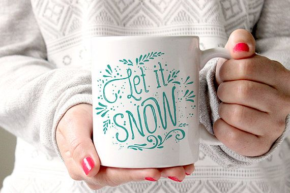 Let it snow, Coffee mug, Tea mug, Christmas Mug, Mugs, Ceramic Mug, Gift, Blue, Teal, Flourish, Holiday, Winter, MC11