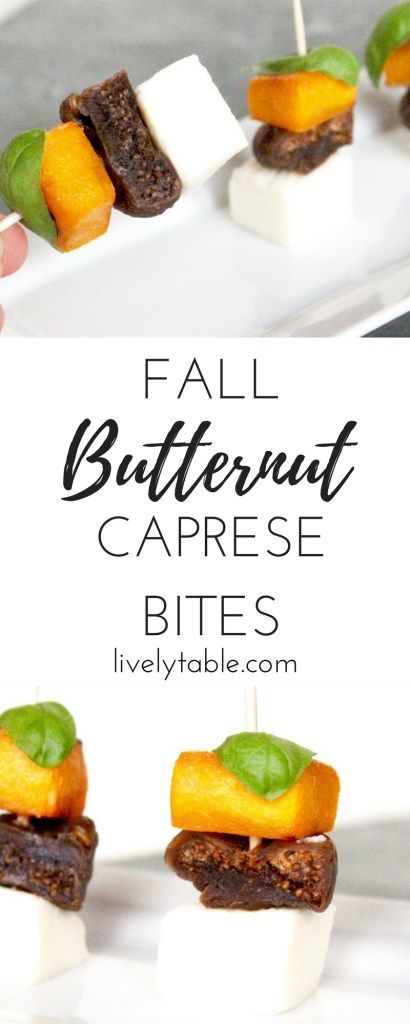 Fall Butternut Squash Caprese Bites are super easy to make with just 4 ingredients, and the're delicious! Great for holiday parties or football watching parties! via livelytable.com