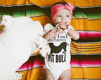 Plans with my Pitbull Pit Bull Onesie - Cute Pitbull Top - Pitbull Tee - Pitbulls and Babies - Pitbull Clothes