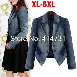 Find More Blazers Information about XXXXXL Plus Size Fat Women Clothing 2014 European and American Denim Jacket Long Sleeved Jeans Coat Female Overcoat 5XL/4XL/3XL,High Quality Blazers from Minabell Fashion Store on Aliexpress.com