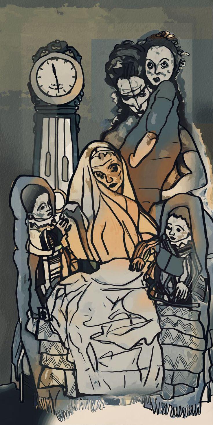 "3 generations of not so happy waiting ""Egon Schiele women"""