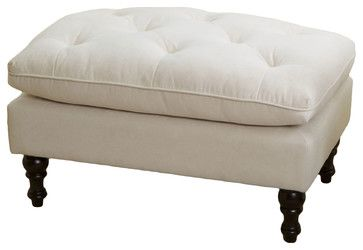 Cordoba Royal Design Ottoman Footstool, Cream Beige - contemporary - Ottomans And Cubes - Great Deal Furniture