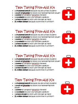 FREE Common Core Test First Aid Survival Kit! How to make your own for your students!
