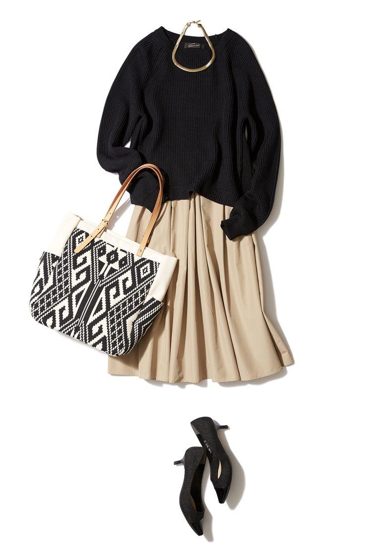 春注目のニュートラルカラーでふんわりスカートのフェミニンコーデ ― B