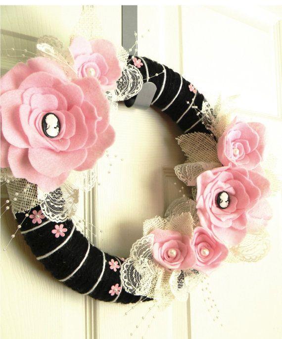 Cameo in Paris 12 inch Felt and Yarn Wreath by EllaBellaMaeDesigns, $40.00