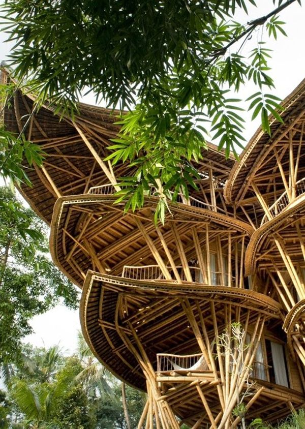 """Sustainable Bamboo Tree House In Bali - This house was designed by Elora Hardy architect, is a six-story structure made almost entirely of bamboo. This building, called Sharma Springs, earns additional points whereas it is amazing to be completely handmade, as an explanation Hardy told New York magazine, """"It was built daro bamboo scaled down models, instead of blueprints and drawings""""."""