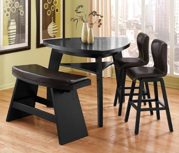 Irma 4 pc dinette w one bench delightful dining rooms for Triangle shaped dining room table