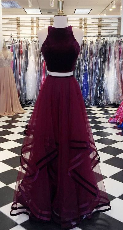 Two piece burgundy long party prom dress C309