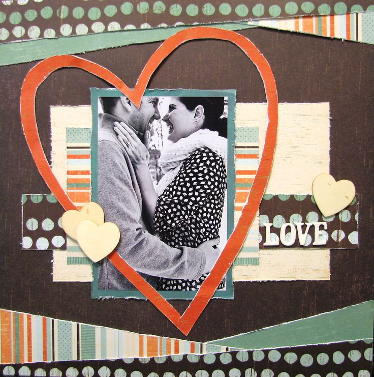 #papercraft #scrapbook #layout  Love - Scrapbook.com  Adorable heart bordering the photo