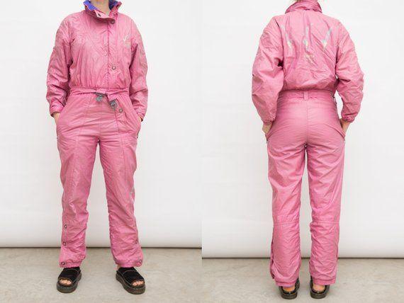 6fae86d15f3 Vintage Pink Ski Suit, 80s Pastel Pink Suit, Ski Wear Onepiece Snow ...