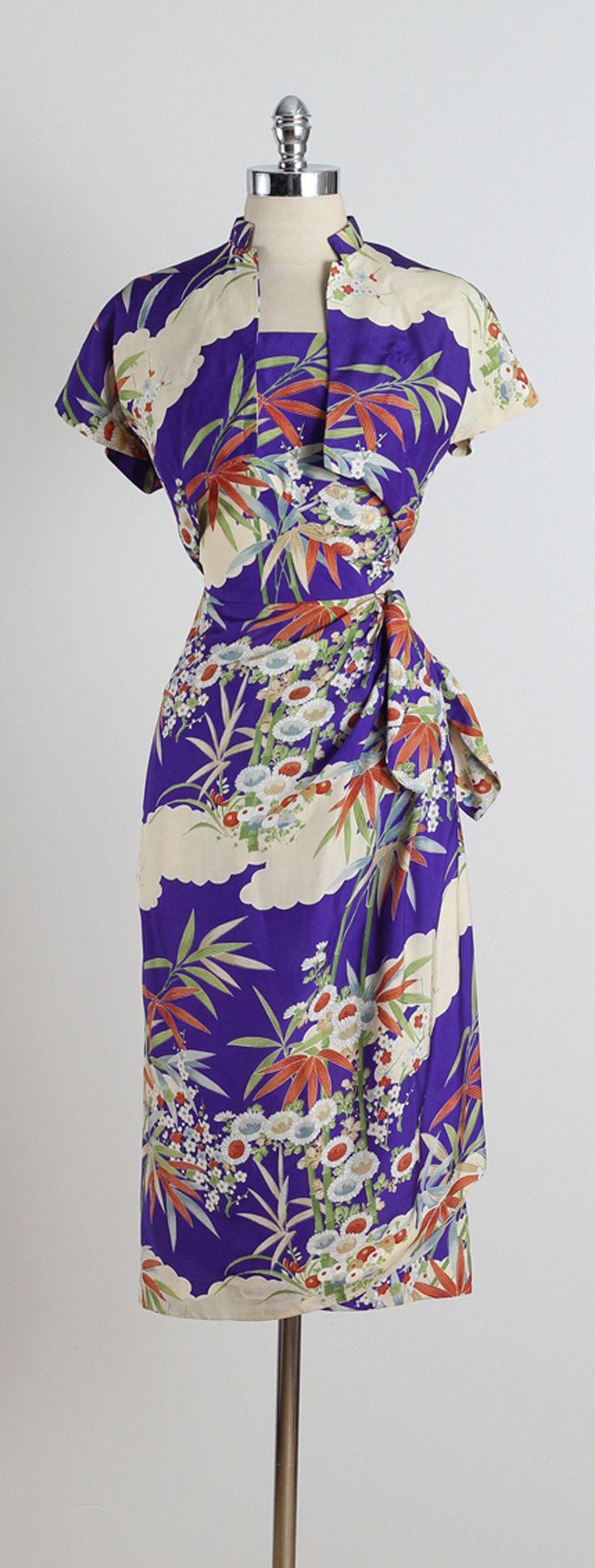 Vintage 1950s Paradise Sportswear Blue Foliage Sarong Dress + Bolero