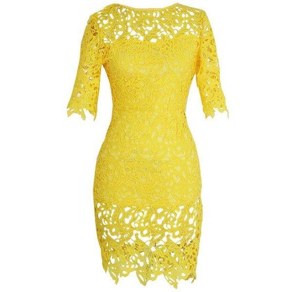 Short Sleeve Yellow Lace Crochet Sheath Dress (£21) ❤ liked on Polyvore featuring dresses, short dress, vestidos, yellow, lace dress, short sleeve dress, long-sleeve mini dress, short-sleeve maxi dresses and short lace dress