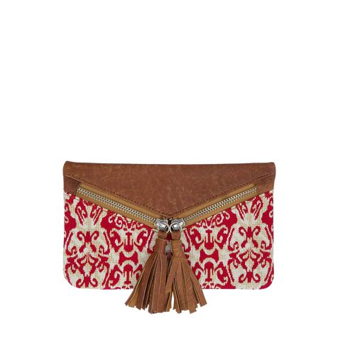 Sorayane - Leather and Red Indonesian Batik Wallet