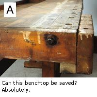 To show you how this technique works, we searched for a bench badly in need of flattening. We found a doozie in the workshop of John Hetherington, ...