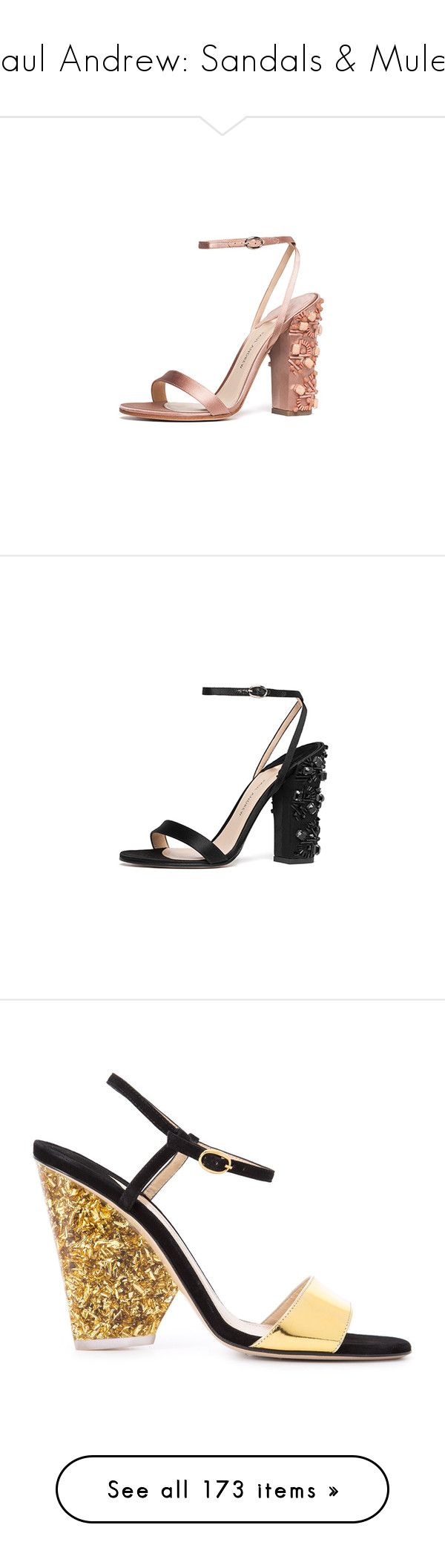 """""""Paul Andrew: Sandals & Mules"""" by livnd ❤ liked on Polyvore featuring sandals, collection, mules, paulandrew, shoes, black, paul andrew shoes, black shoes, paul andrew and kohl shoes"""