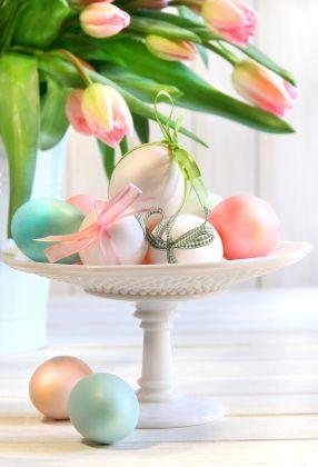 Easter eggs + tulips