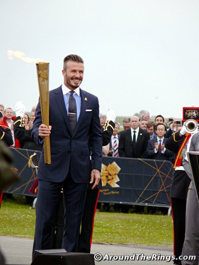 David Beckham with Torch. Add Around The Rings on www.Twitter.com/AroundTheRings & www.Facebook.com/AroundTheRings for the latest info on the Olympics.