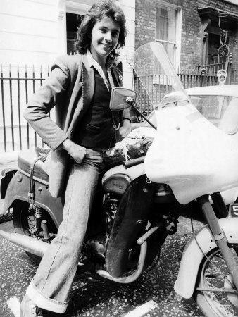 David Essex on a Triumph