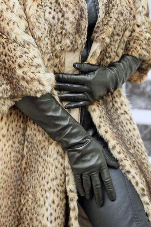 2c38b2de379436 Elegante lange Damen Lederhandschuhe - MICELI - Made in Italy